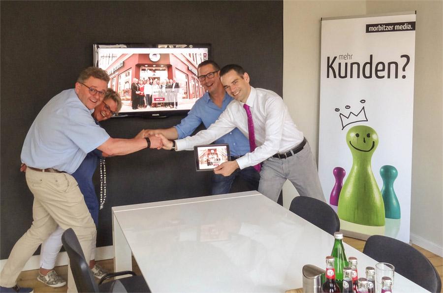Onlinegang optiker-schulz.de Handshake bei der Werbeagentur morbitzer media